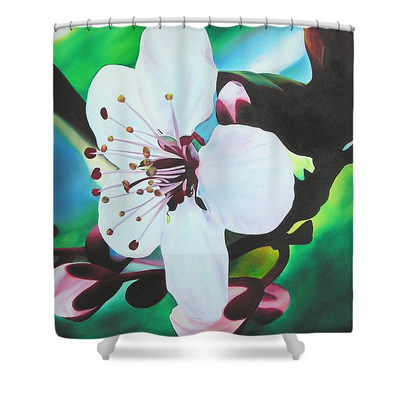 Flower Shower Curtain featuring the painting Cherry Blosom by Joshua Morton