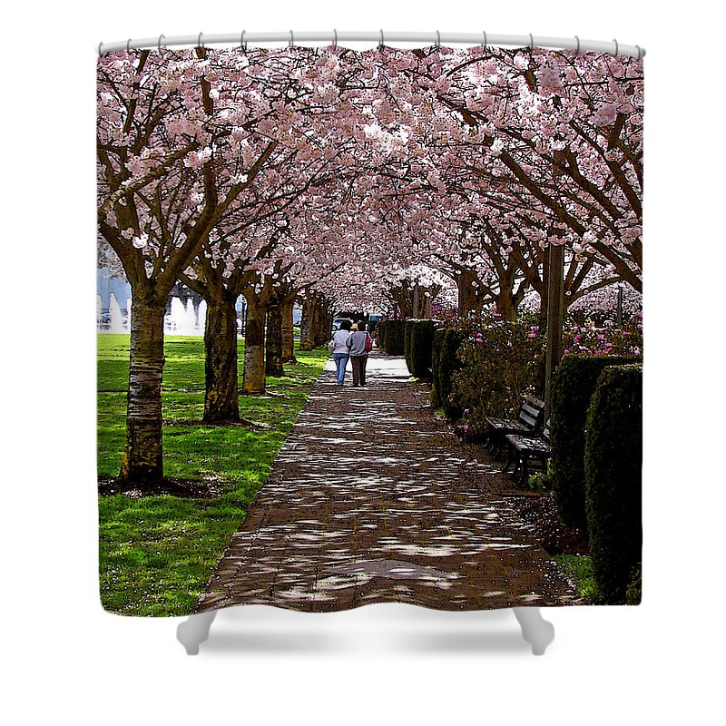 Cherry Trees Shower Curtain featuring the digital art Cherry Blossom Friends by Gary Olsen-Hasek