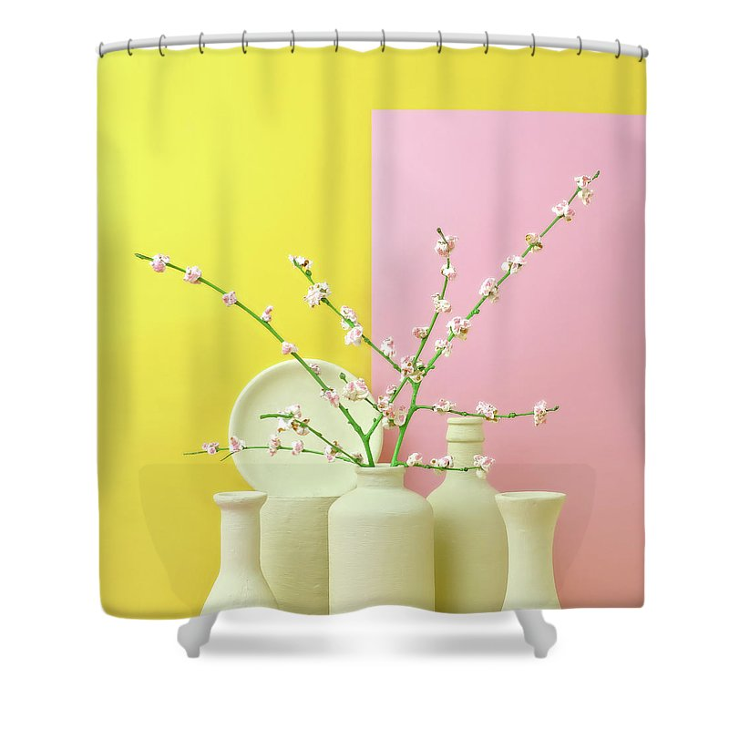 Out Of Context Shower Curtain featuring the photograph Cherry Blossom Popcorn In Monochromatic by Juj Winn