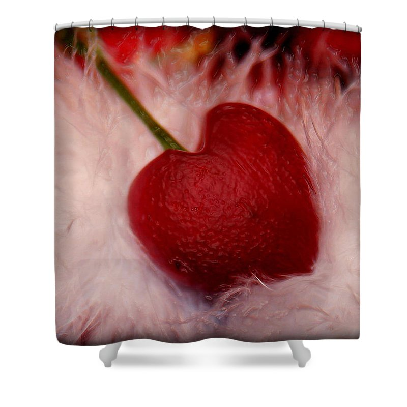 Heart Artred Cherry Heart Shower Curtain featuring the photograph Cherry Heart by Linda Sannuti