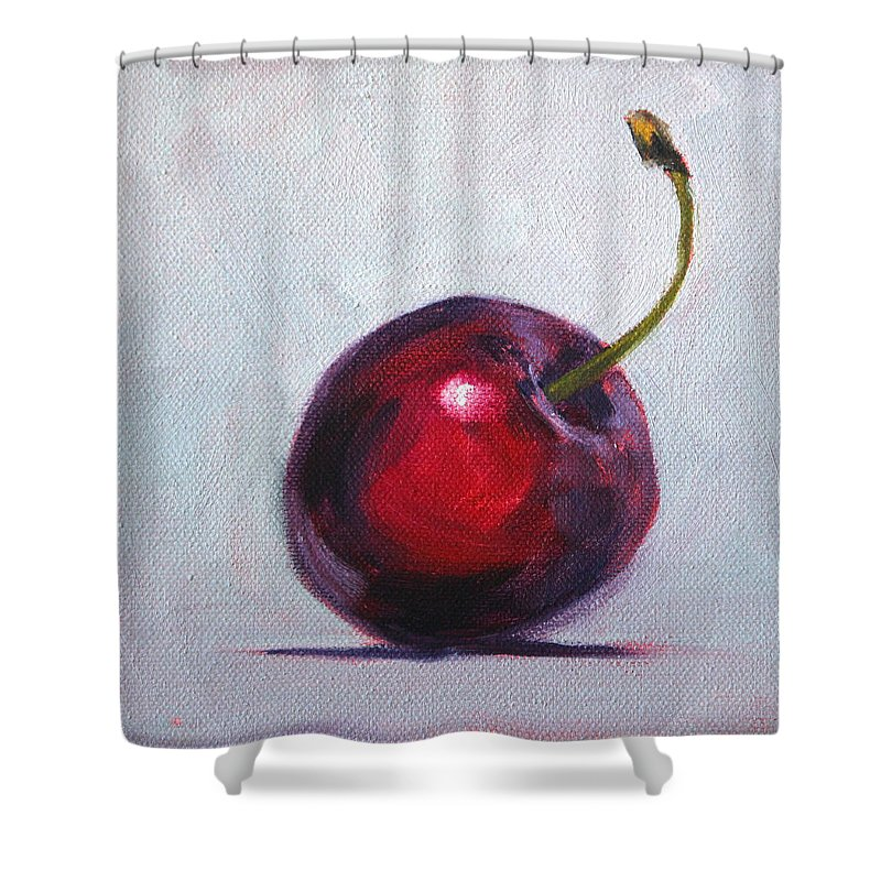 Cherry Shower Curtain featuring the painting Cherry by Nancy Merkle