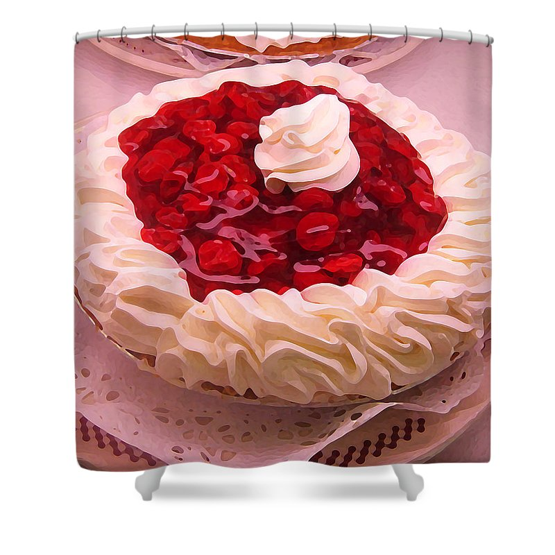 Still Life Shower Curtain featuring the painting Cherry Pie With Whip Cream by Amy Vangsgard