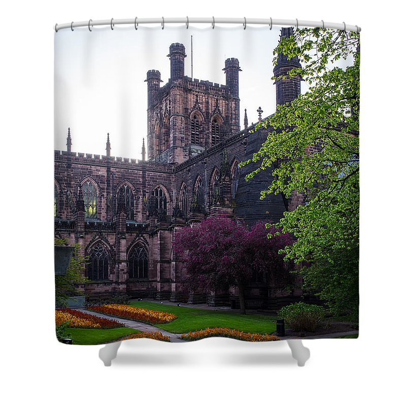 Canvas Shower Curtain featuring the photograph Chester Cathedral by Mark Llewellyn