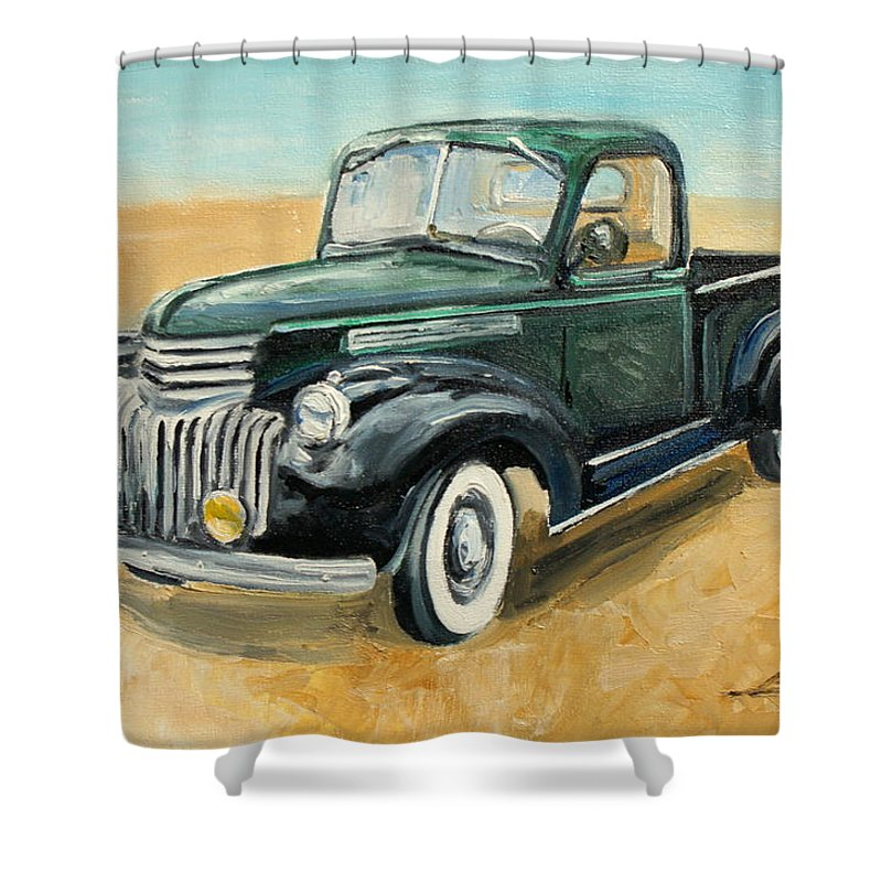 Chevrolet Shower Curtain featuring the painting Chevrolet Art Deco Truck by Luke Karcz