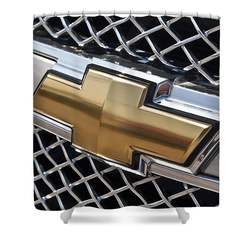 Chevrolet Shower Curtain Featuring The Photograph Bowtie Symbol On Chevy Silverado Grill E181 By Wendell