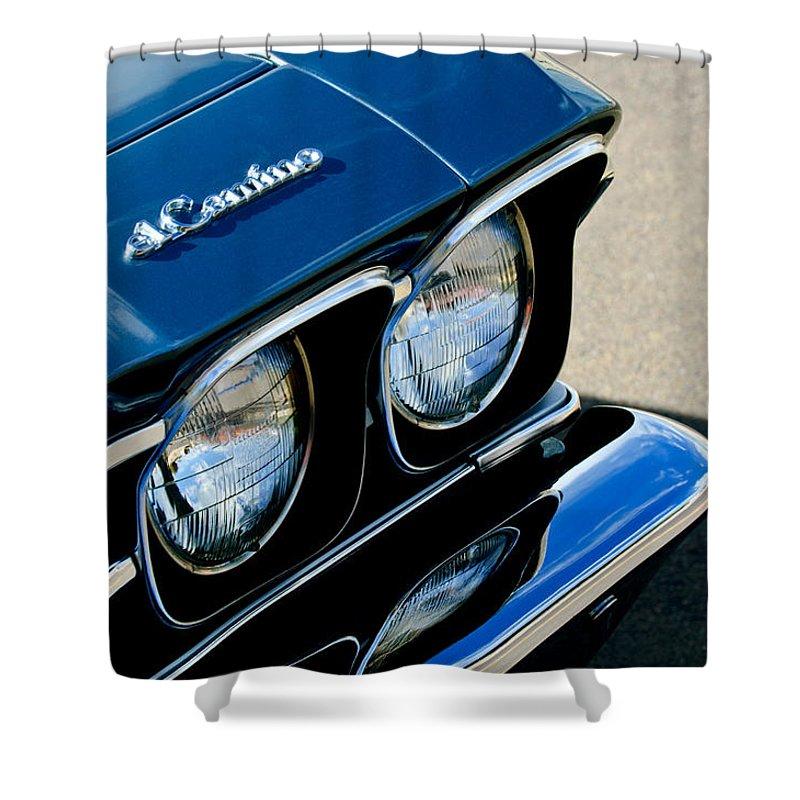 Chevrolet El Camino Hood Emblem - Head Lights Shower Curtain featuring the photograph Chevrolet El Camino Hood Emblem - Head Lights by Jill Reger