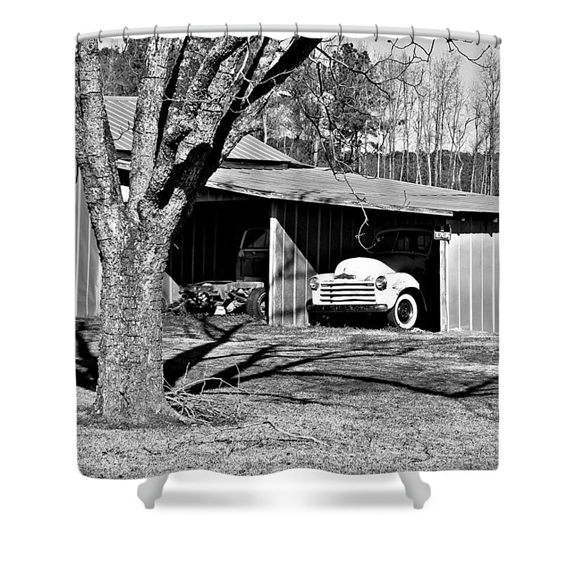 Chevy Shower Curtain featuring the photograph Chevy In Hiding by John Lewis