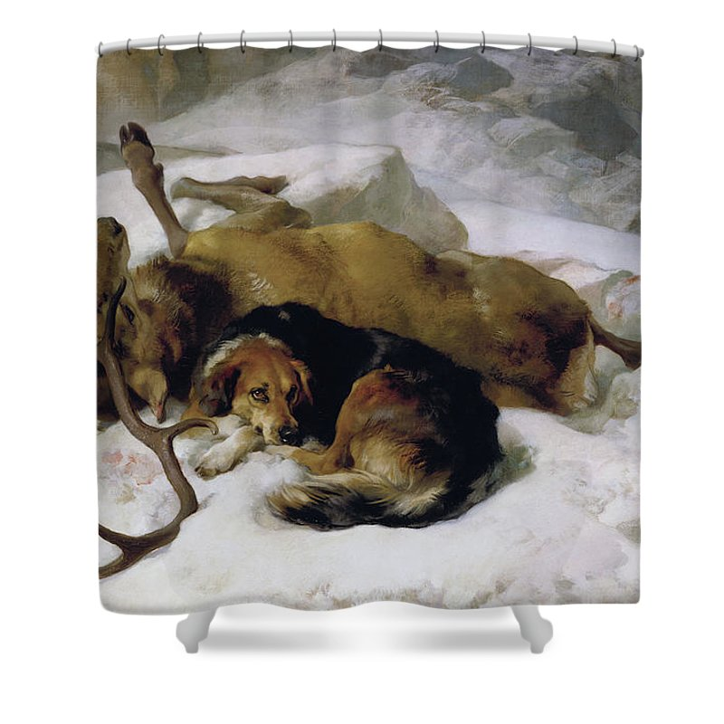 Dog Shower Curtain Featuring The Painting Chevy By Sir Edwin Landseer