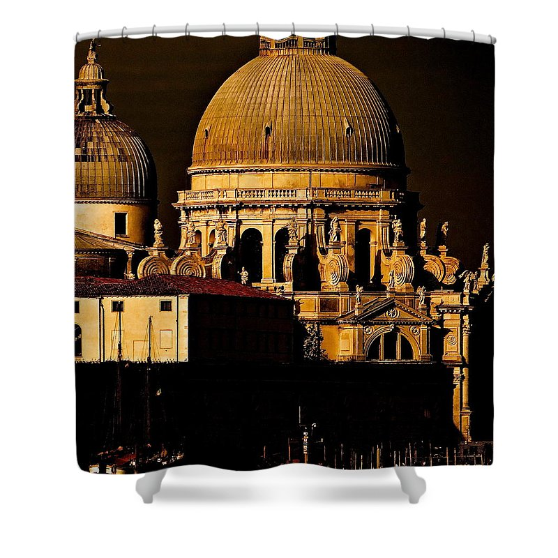 Santa Maria Della Salute Shower Curtain featuring the photograph Chiaroscuro Venice by Ira Shander