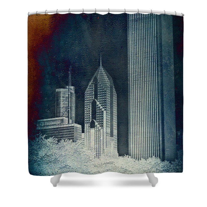 Chicago Shower Curtain featuring the photograph Chicago 4 Tall Shoulders Textured by Thomas Woolworth