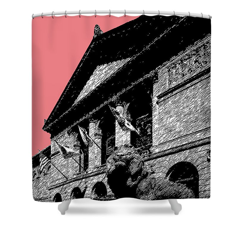 Architecture Shower Curtain featuring the digital art Chicago Art Institute Of Chicago - Light Red by DB Artist