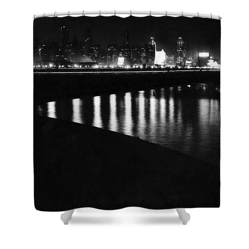 1920s Shower Curtain featuring the photograph Chicago At Night by Underwood Archives
