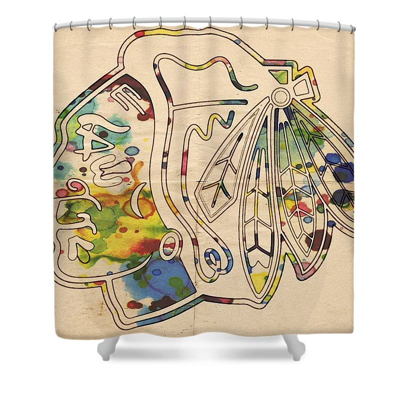 Chicago Blackhawks Shower Curtain Featuring The Painting Poster Art By Florian Rodarte