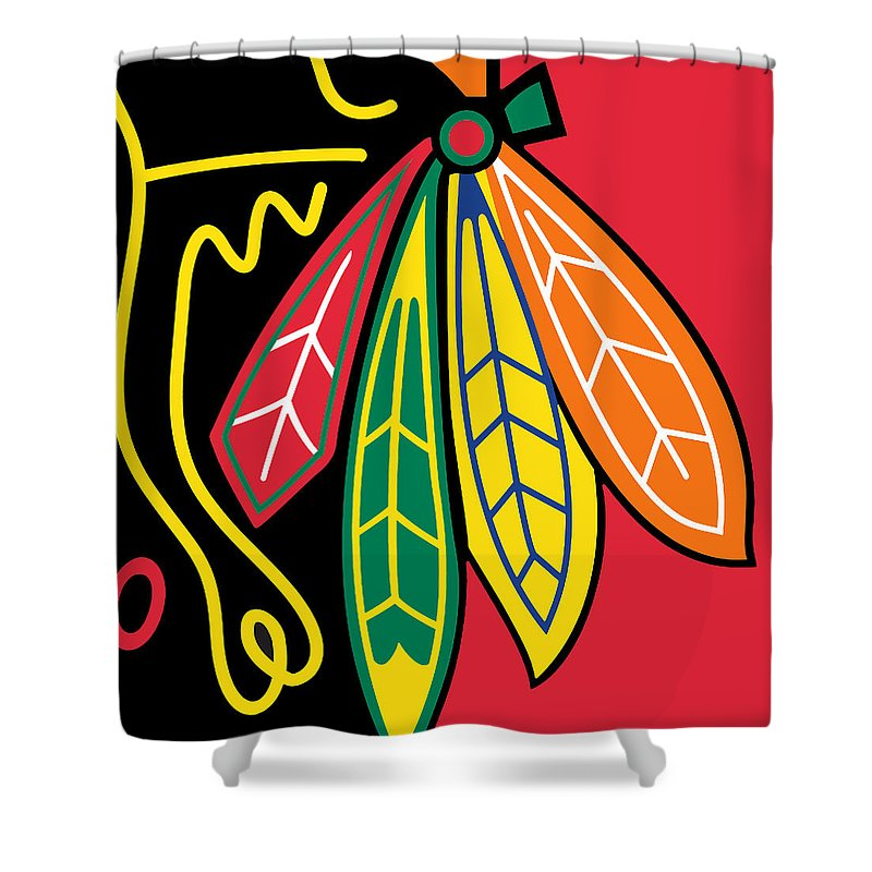 Chicago Shower Curtain Featuring The Painting Blackhawks By Tony Rubino