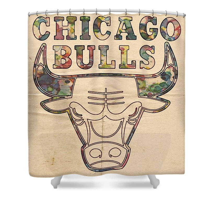 Chicago Bulls Shower Curtain Featuring The Painting Logo Vintage By Florian Rodarte