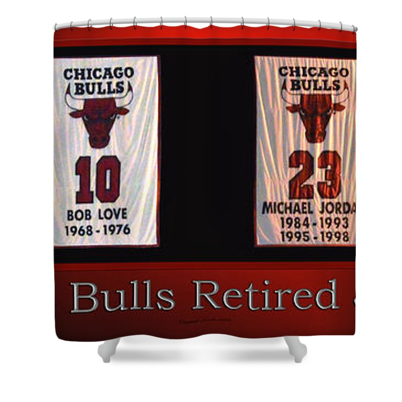 Chicago Bulls Shower Curtain Featuring The Mixed Media Retired Jerseys Banners By Thomas Woolworth