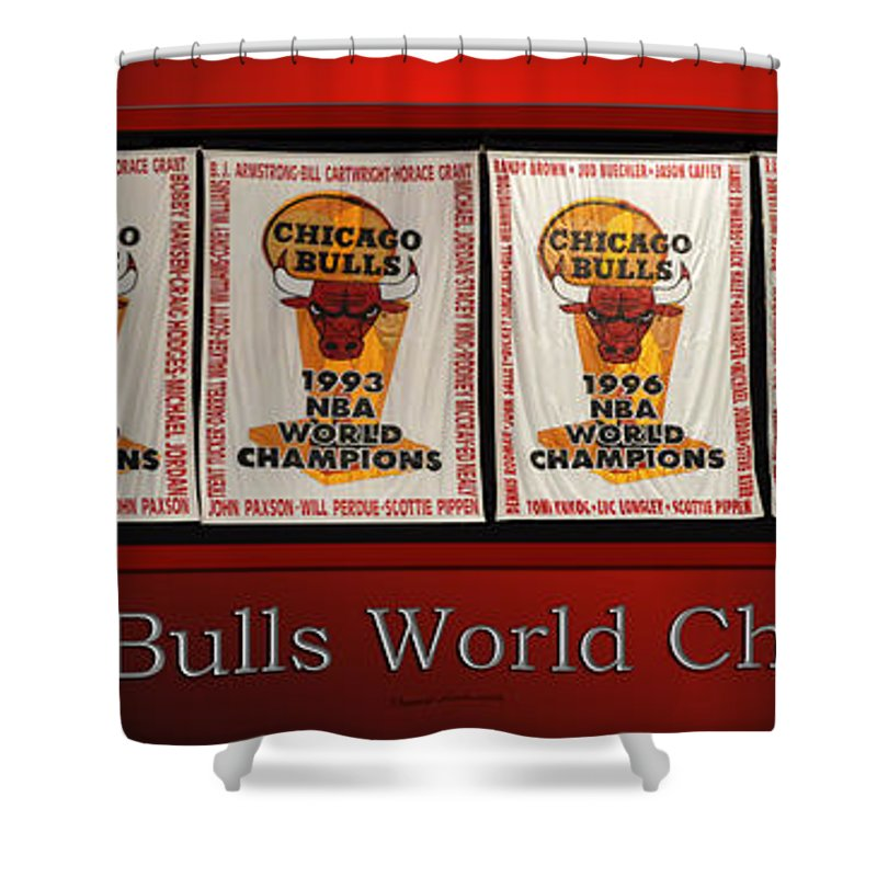 Chicago Bulls Shower Curtain Featuring The Photograph World Champions Banners By Thomas Woolworth