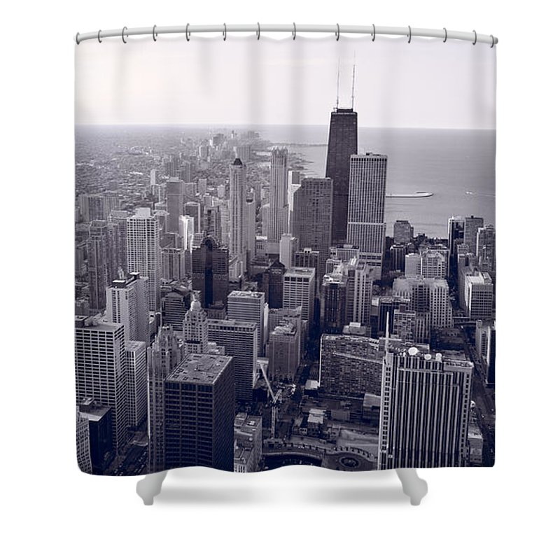 Aerial Shower Curtain featuring the photograph Chicago Bw by Steve Gadomski