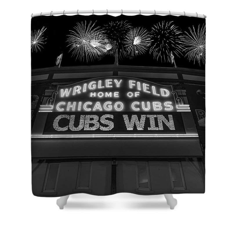 Chicago Shower Curtain featuring the photograph Chicago Cubs Win Fireworks Night B W by Steve Gadomski