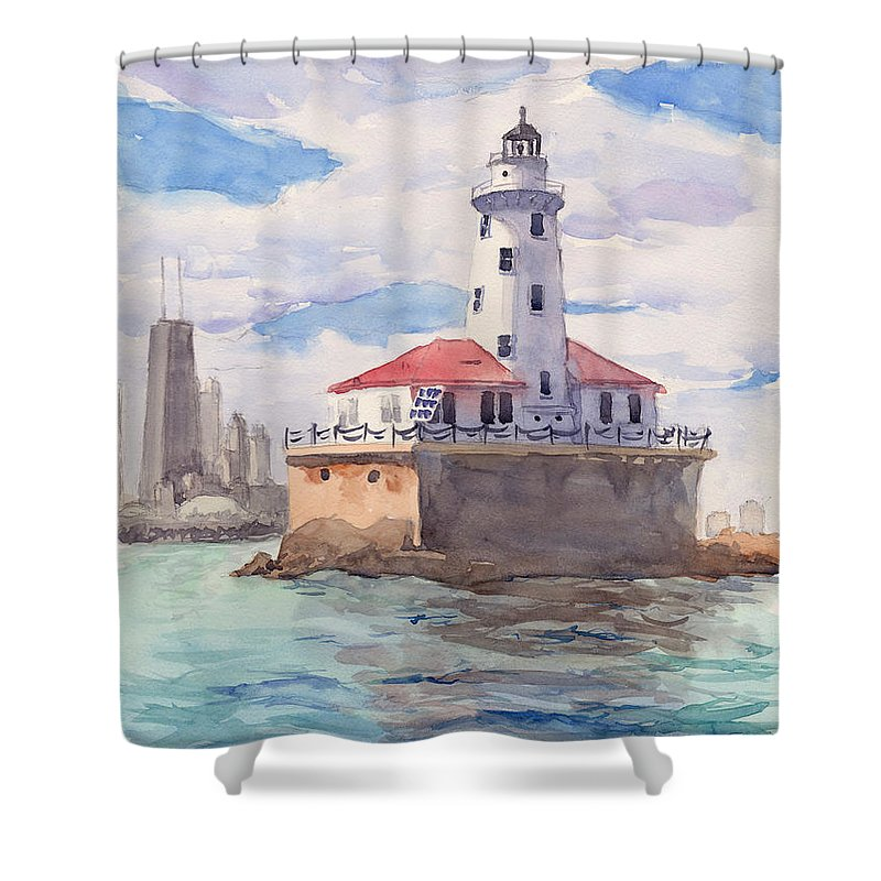 Landscape Shower Curtain featuring the painting Chicago Harbor Light by Max Good