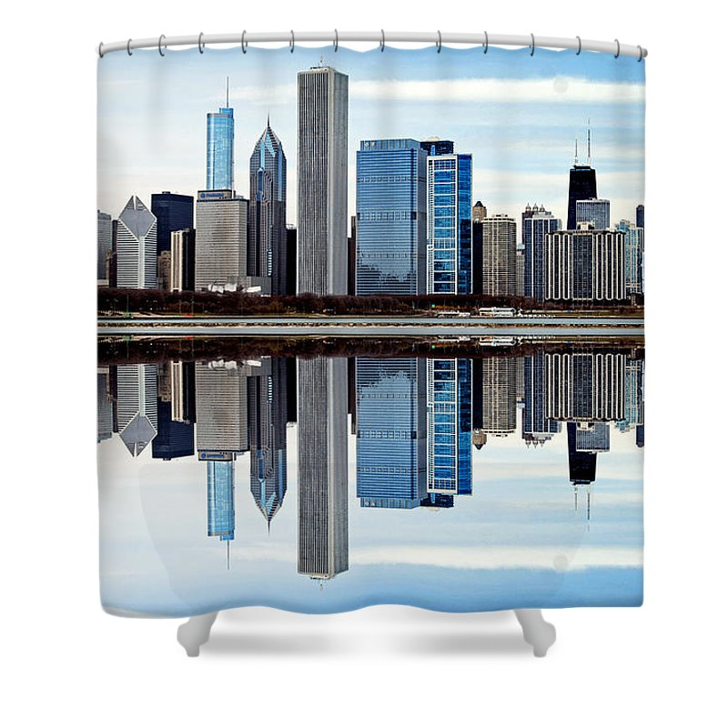 Chicago Shower Curtain featuring the photograph Chicago Reflected by Skip Willits