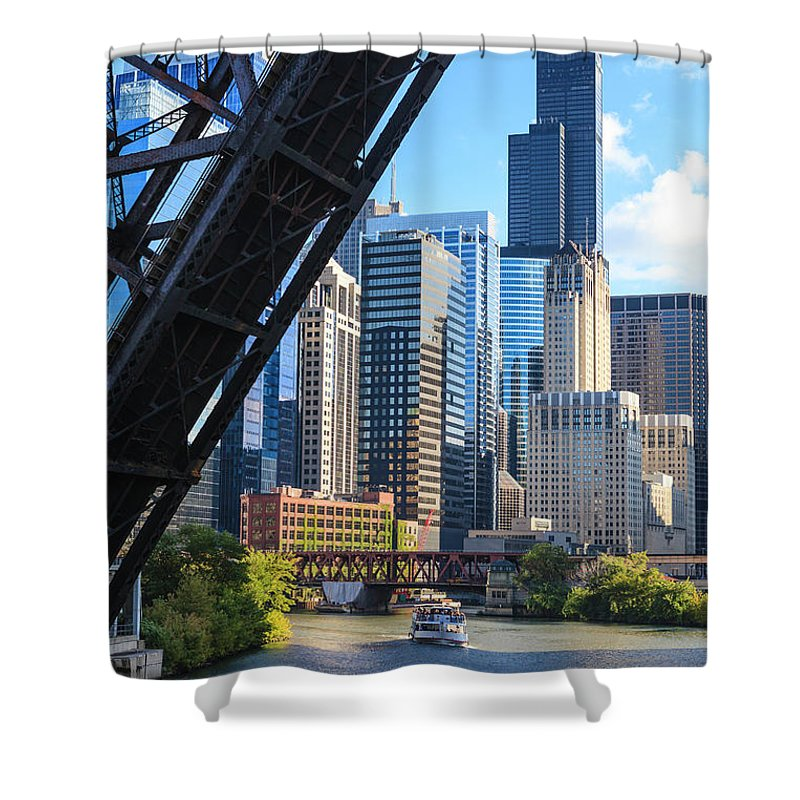 Chicago River Shower Curtain featuring the photograph Chicago River And Towers by Fraser Hall