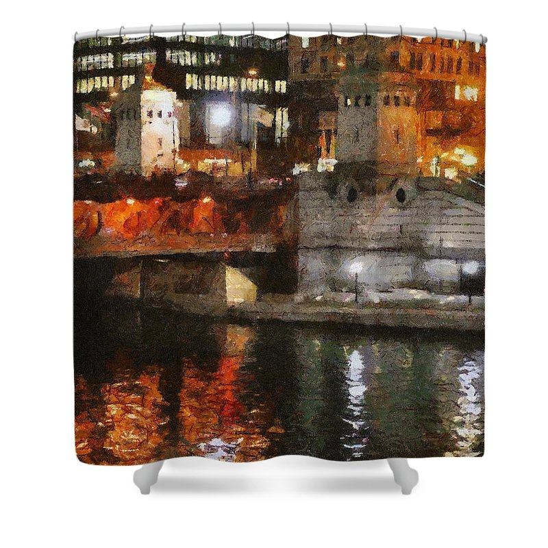 Bridge Shower Curtain featuring the painting Chicago River At Michigan Avenue by Jeffrey Kolker
