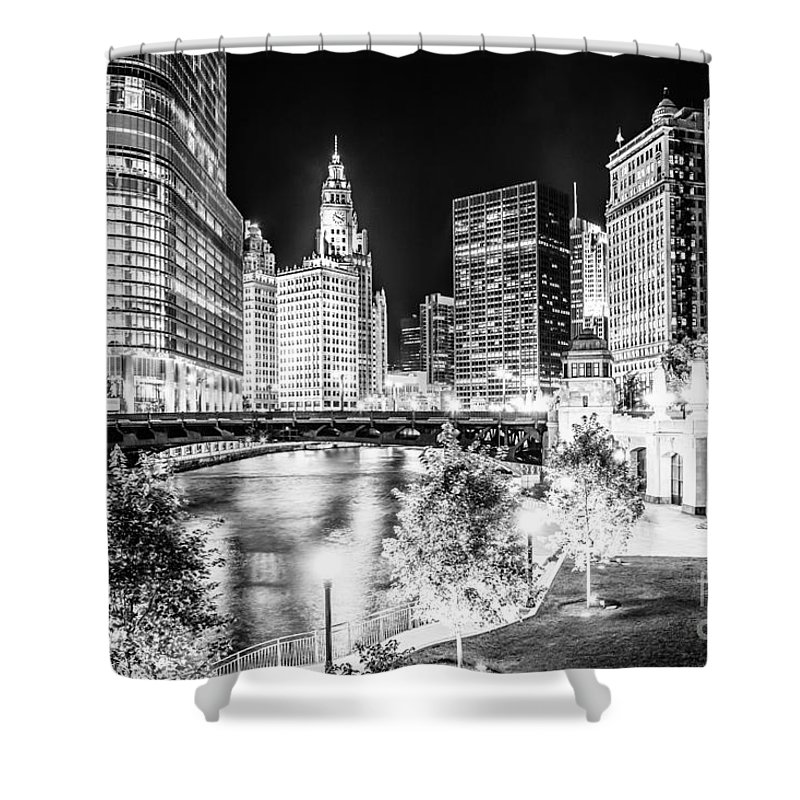 America Shower Curtain featuring the photograph Chicago River Buildings at Night in Black and White by Paul Velgos