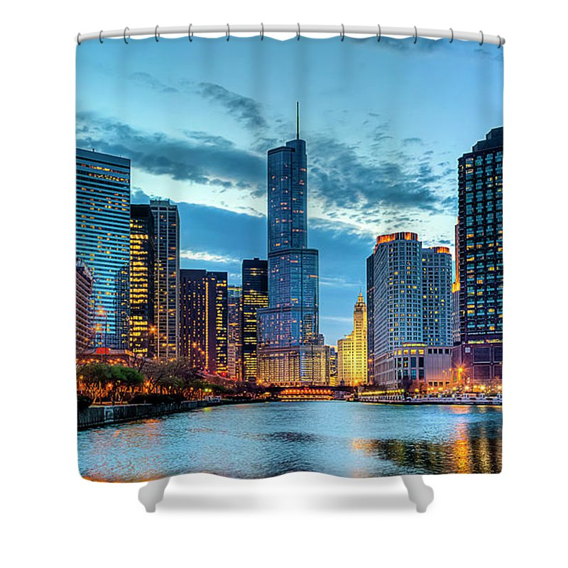 Tranquility Shower Curtain featuring the photograph Chicago River by Carl Larson Photography