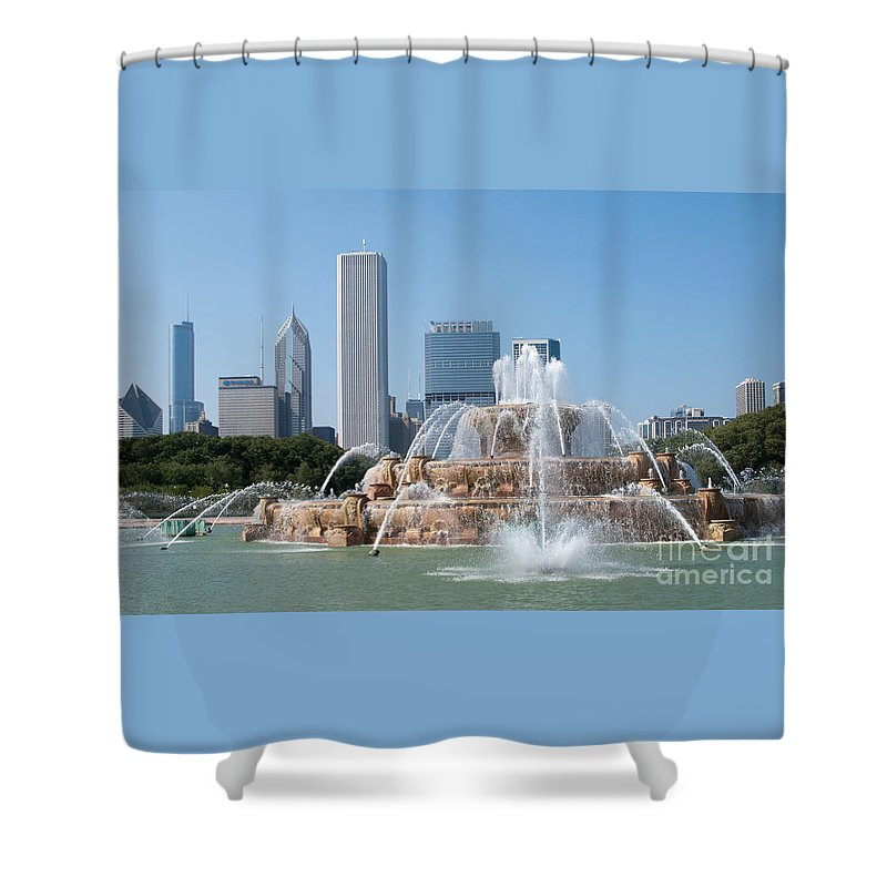 Chicago Skyline And Fountain Shower Curtain featuring the photograph Chicago Skyline And Fountain by Ann Horn