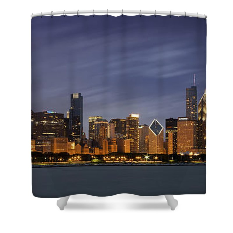 3scape Shower Curtain featuring the photograph Chicago Skyline At Night Color Panoramic by Adam Romanowicz