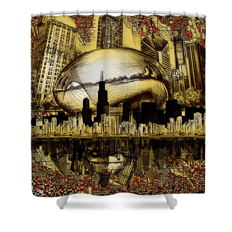 Chicago Skyline Shower Curtain featuring the digital art Chicago Skyline Drawing Collage 3 by Bekim M