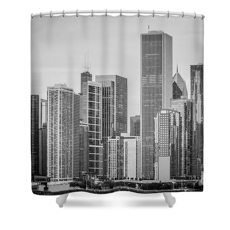 Chicago Skyline Photograph Shower Curtain featuring the photograph Chicago Skyline In Black And White by Terri Morris