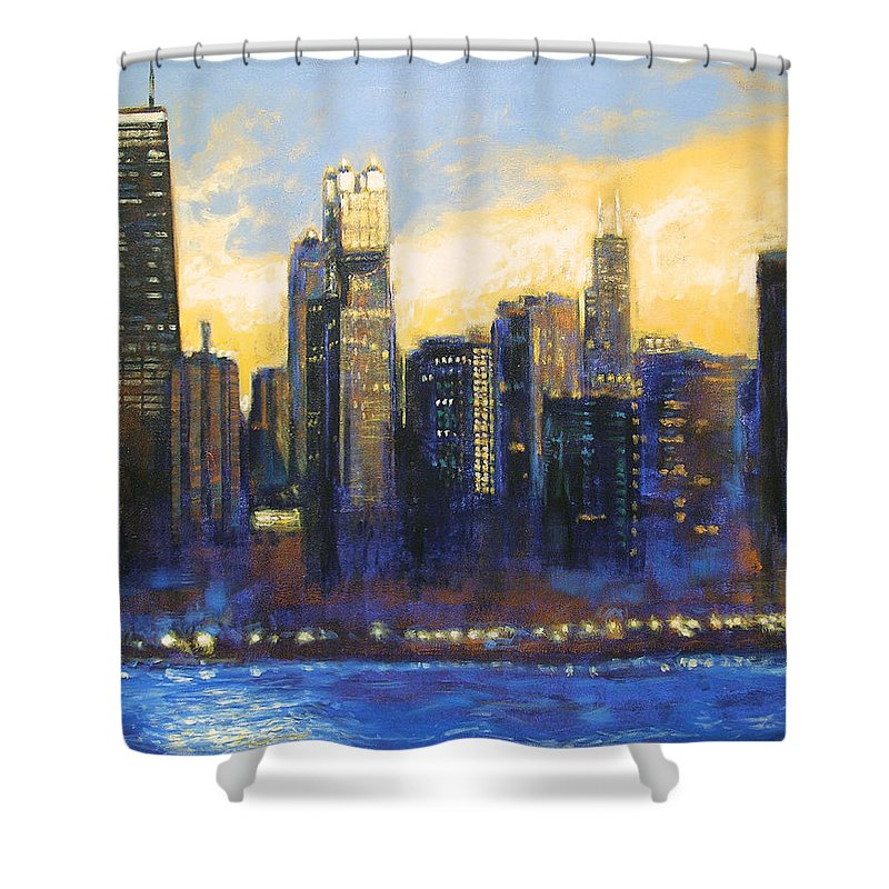Chicago Skyline Shower Curtain featuring the painting Chicago Sunset Looking South by Joseph Catanzaro