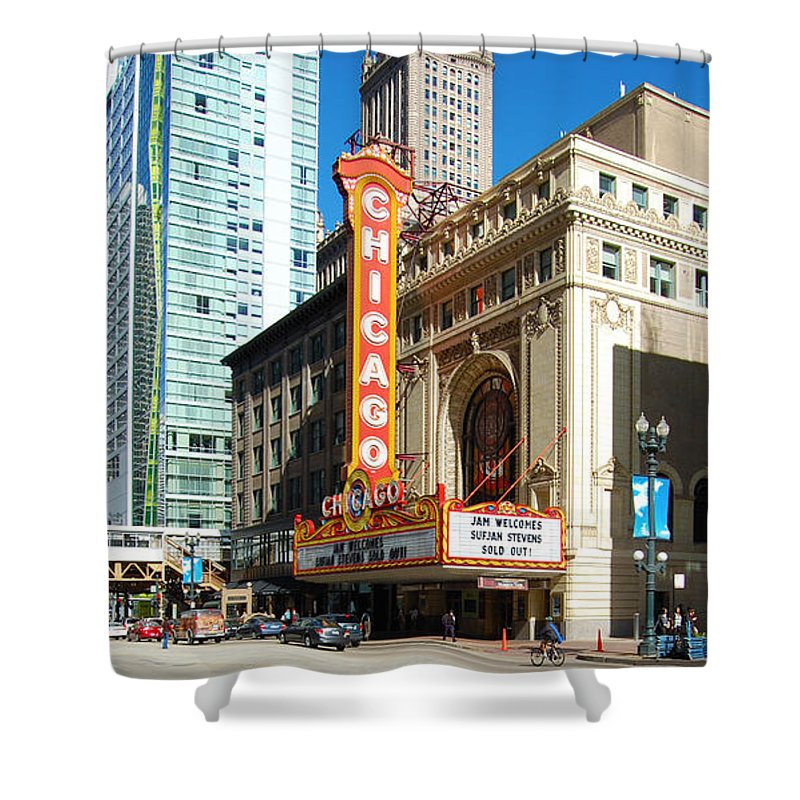 Chicago Shower Curtain featuring the photograph Chicago Theater Marquee Sign On State Street by Jessica Kirsh