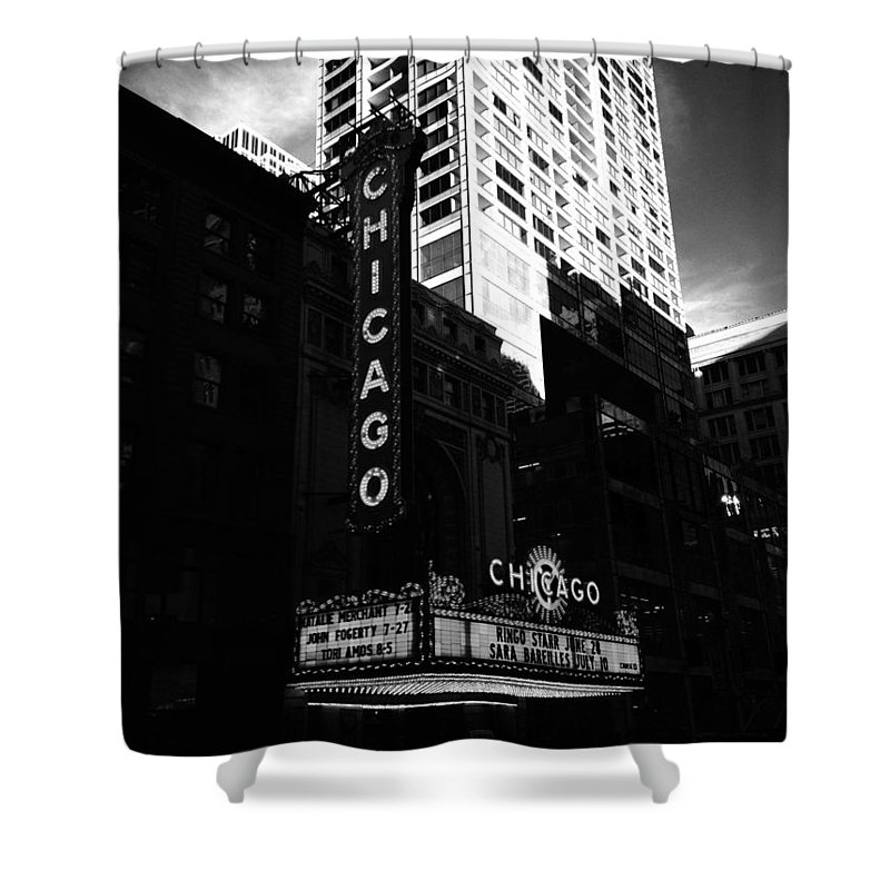 Shower Curtain featuring the photograph Chicago Theater by Sue Conwell