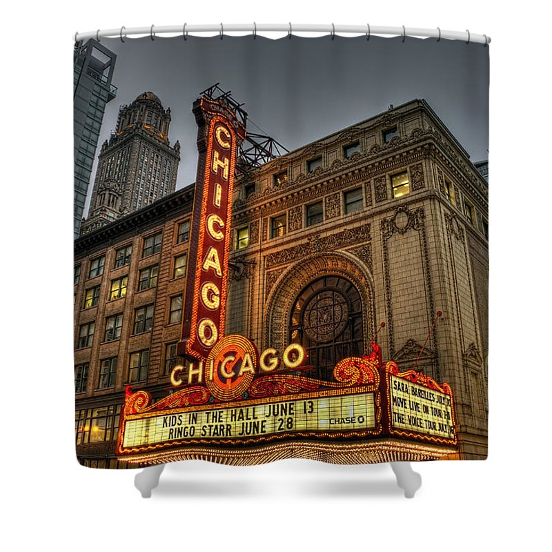 Chicago Theatre Hdr Shower Curtain featuring the photograph Chicago Theatre Hdr by Josh Bryant