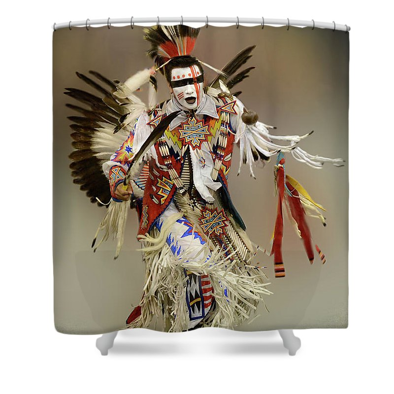Indigenous Shower Curtain featuring the photograph Pow Wow Dreamtime 1 by Bob Christopher