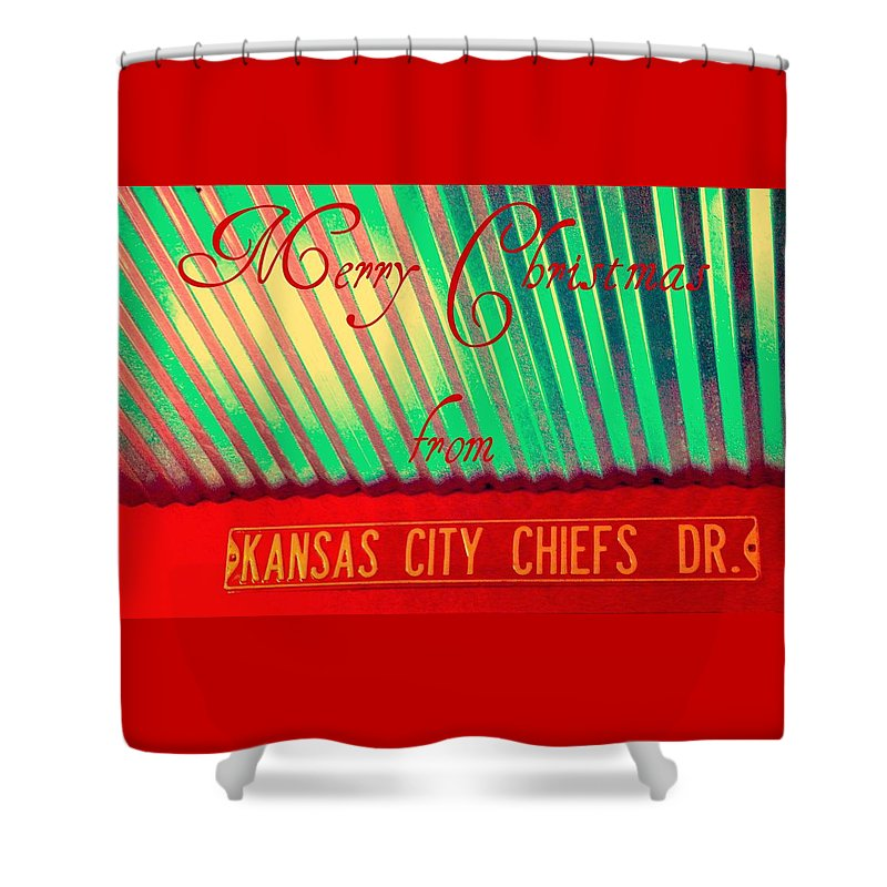 Christmas Shower Curtain featuring the photograph Chiefs Christmas by Chris Berry