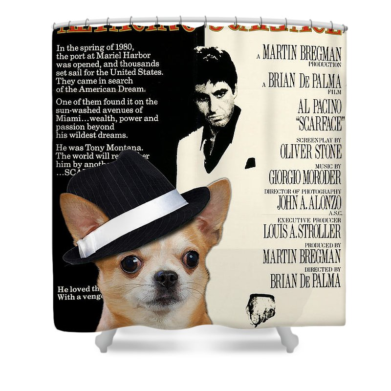 Chihuahua Shower Curtain Featuring The Painting Art
