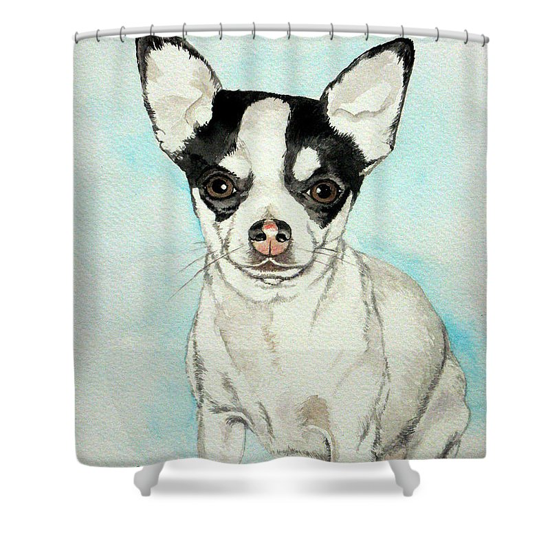Chihuahua Shower Curtain Featuring The Painting White With Black Spots By Christopher Shellhammer
