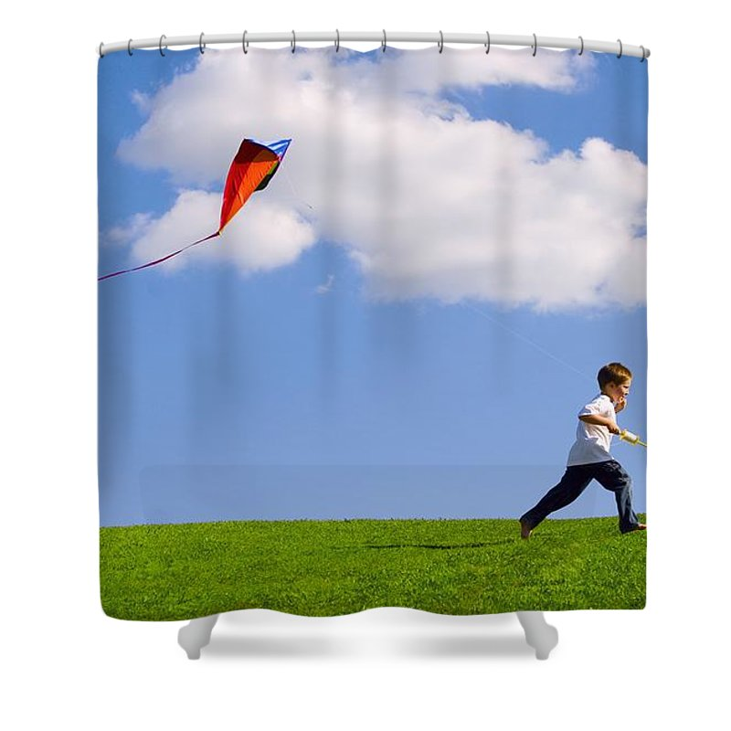 Flying A Kite Photographs Shower Curtains