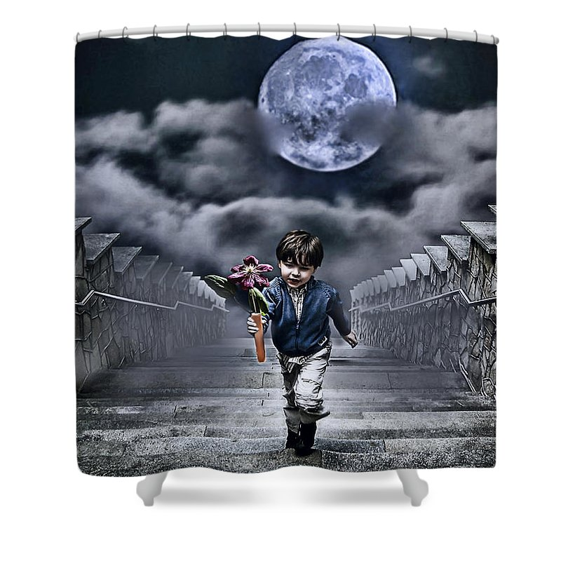 Boy Shower Curtain featuring the photograph Child Of The Moon by Joachim G Pinkawa
