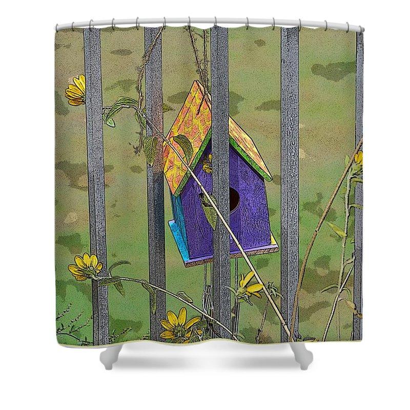 Childhood Bird House Shower Curtain featuring the digital art Childhood Memories by Sonali Gangane