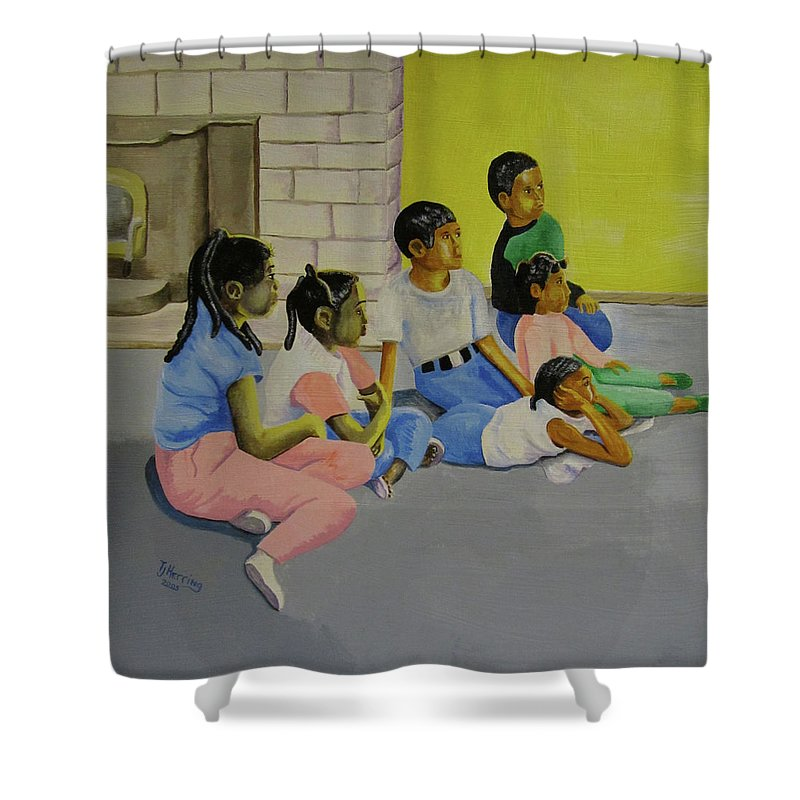 Children Shower Curtain featuring the painting Children's Attention Span by Thomas J Herring