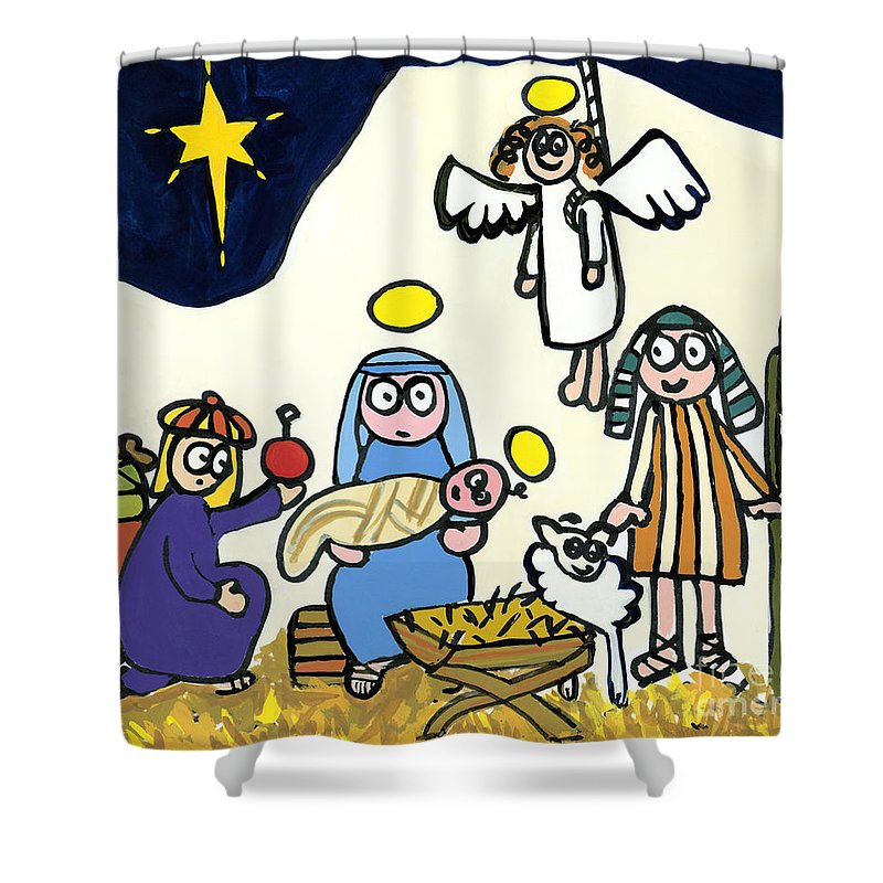 Christmas Shower Curtain Featuring The Painting Childrens School Nativity Play By Jane Freeman