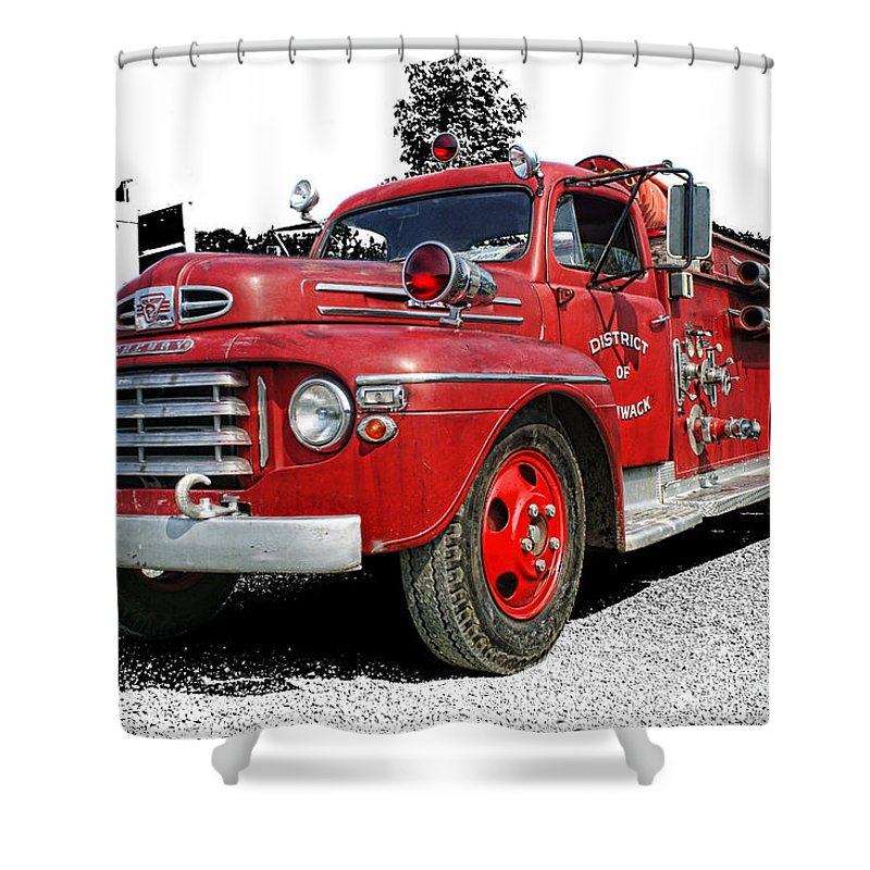 Old Fire Trucks Shower Curtain featuring the photograph Chilliwack Fire- Mercury Firetruck by Randy Harris