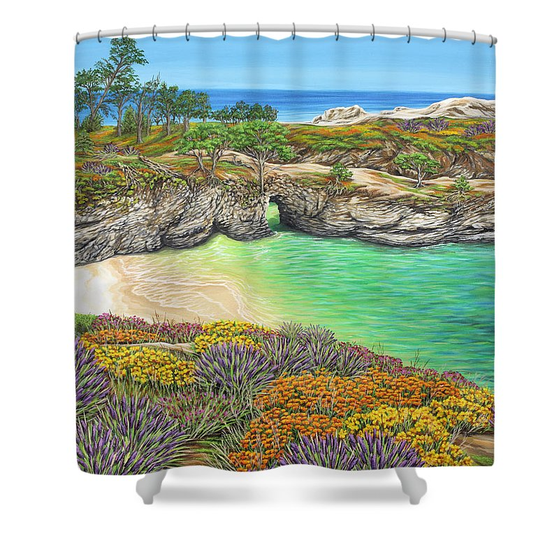 Ocean Shower Curtain featuring the painting China Cove Paradise by Jane Girardot