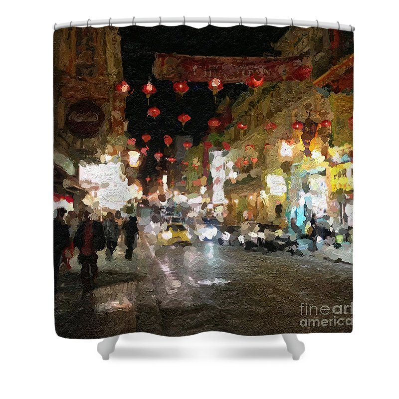 san Francisco Shower Curtain featuring the painting China Town At Night by Linda Woods