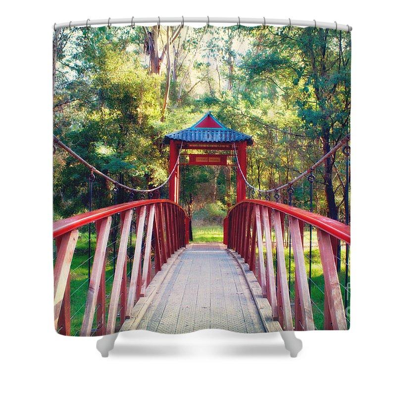 Bridge Shower Curtain featuring the photograph Chinese Bridge Wandiligong by Linda Lees